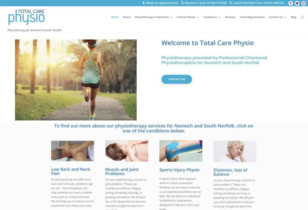 Total Care Physion Norfolk SEO project